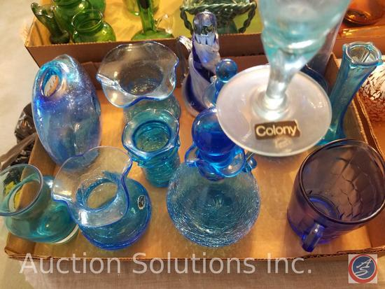 Assorted Blue Glass Vases including Vintage Blue Glass Genie Bottle with Round Stopper