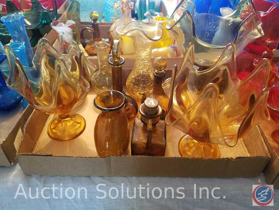 (10) Vintage Amber Glass Including Piece Made in Tawain, Also Including Pieces Handblown By Rainbow