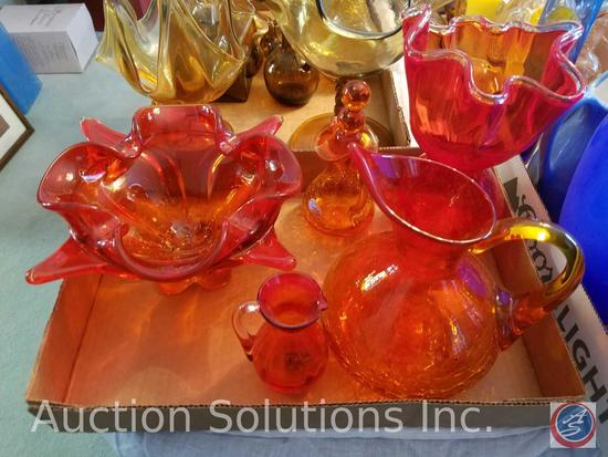 Assorted Orange Glass Vases (5 Pieces) Including Pieces Handblown By Rainbow