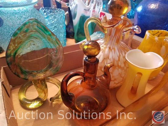 (5) Assorted Amber and Yellow Decorative Glass Including Handblown Glass (3) Assorted Colors Glass