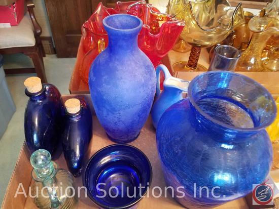 (2) Blue Glass Jugs with Cork Lids (3) Blue Glass Vases (1) Cruet Bottle, Small Glass Pitcher,