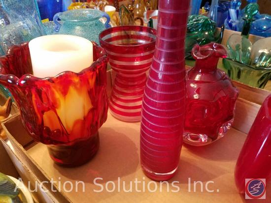 Cruet Bottle {{NO LID}}, (5) Red Glass Vases, Red Glass Candle Holder, Red Glass Small Pitcher