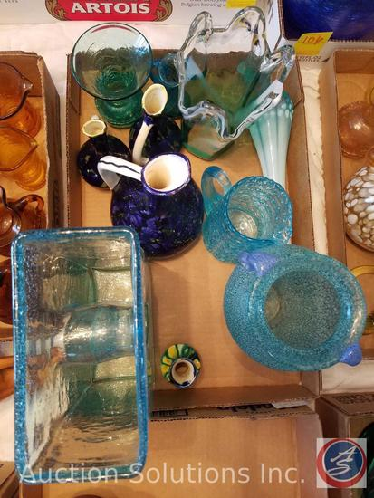 (9) Assorted Blue Glass Vases, Blue Glass Pitcher