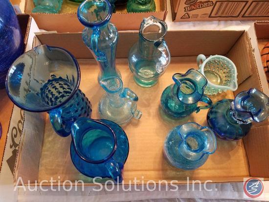 (2) Blue Glass Vase, (7) Assorted Blue Glass Pitchers