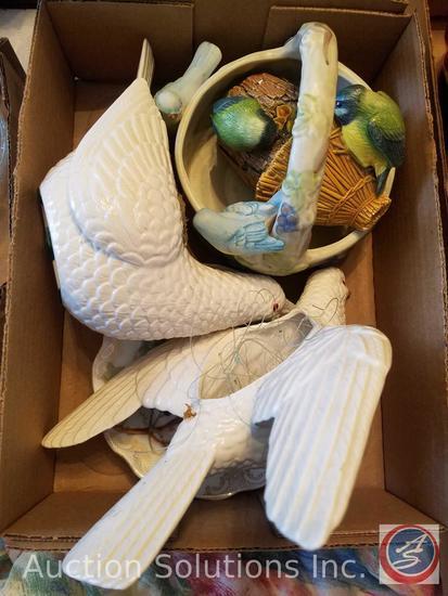 """(2) Ceramic Doves """"Ceramica De ?"""", Madeline Bavaria Chine Decorative Plate, Bossons England Wall"""
