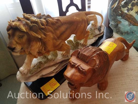 Wooden Lion Statue, Deendoo Crafts Lion Statue