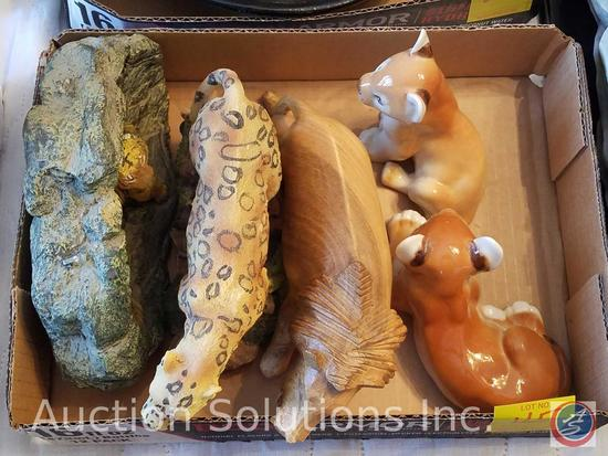 Tiger Candle, Wooden Cheetah, Wooden Lion, (2) Ceramic Lion Cubs Made In U.S.S.R.
