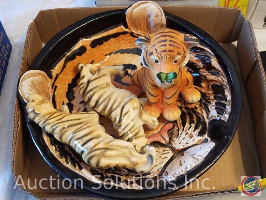 "Ceramic Tiger Cub Marked ""Surprise"" Eva Dalberg 1981, (2) Ceramic Hand painted Tigers Marked Japan"