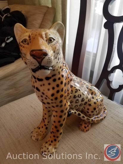 Ceramic Ethan Allen Leopard Made in Italy #43-3038 RN48864, Lidded Leopard Cookie Jar by Nesco Corp.