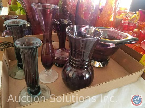 (2) Purple Glass Vases by Cobre Inc Made in Mexico, (3) Small Purple Vases, Blown Glass Dish