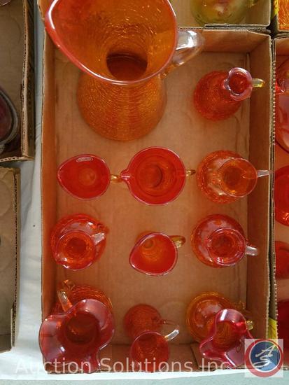 (11) Orange Assorted Glass Pitchers {{2 Of Them Marked Handblown by Rainbow}}