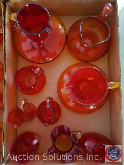 (9) Orange Assorted Glass Pitchers