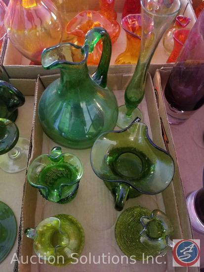 (5) Assorted Green Glass Pitchers, (1) Glass Vase Danish Design