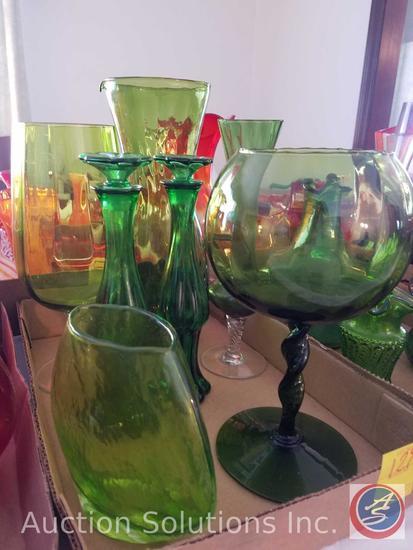(2) Green Glass Cruet Bottles, Glass Pitcher, (2) Green Glass Candle Holders