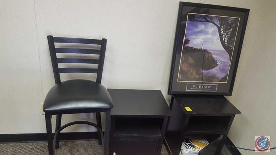 (2) Side Tables, Framed Vision Print