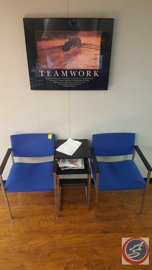 (4) {{2XBID}} (2) Steelcase chairs, Magazine Table, Teamwork Framed Print