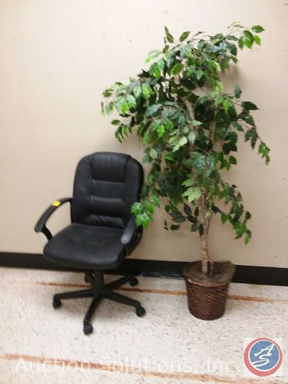 Rolling Office Chair w/ Arms and a Faux Ficus Tree