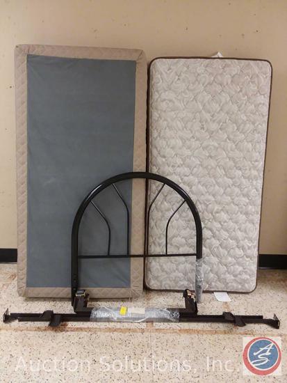 Hampton + Rhodes HR200 Twin Bed Mattress, Box Spring, Headboard and Frame