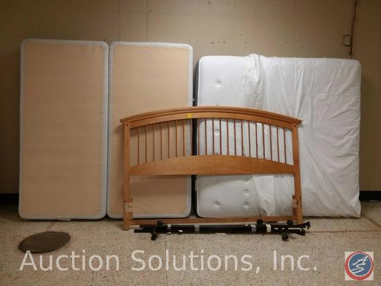 Sealy Posturepedic King Size Mattress and Dual Box Springs w/ Wooden Headboard and Frame