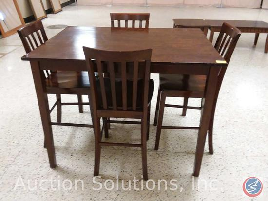 Tall Kitchen Table w/ (4) Slat-Back Chairs (48 x 36 x 36 in.)
