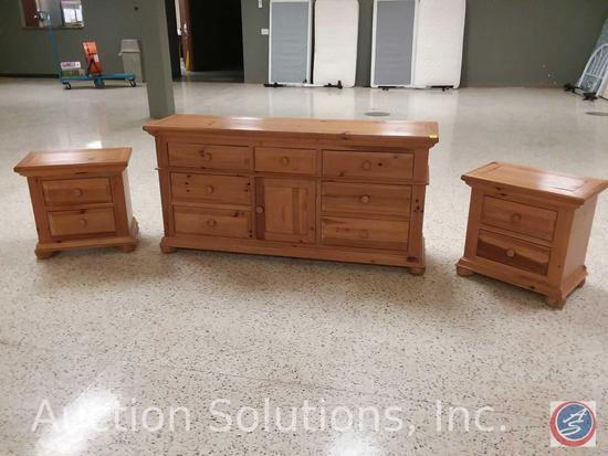 [3x$Bid] Broyhill Furniture 7-Drawer Dresser w/ Cabinet (70 x 19 x 34 in.), and (2) Matching Night
