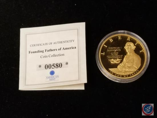 American Mint Founding Fathers of America Jefferson Proof 32g CU Layered in Gold