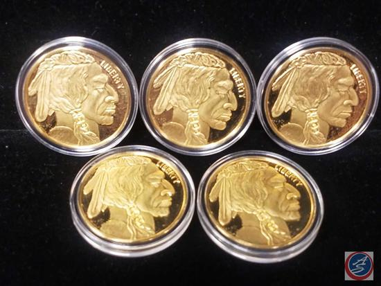 Proof 2017 Indian Head Nickels 32g CU Coated in 24k Gold Proof Coins