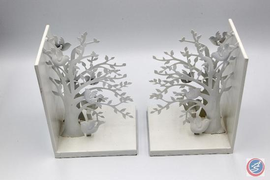 PartyLite White Woodland Bookends SmartScents Holders