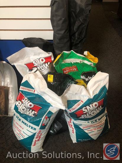 Roll of Landscaping Mesh, (2) New Bags of Ice Melt, Bag of Ice Melt {{PARTIAL}}, Bag of Garden Soil