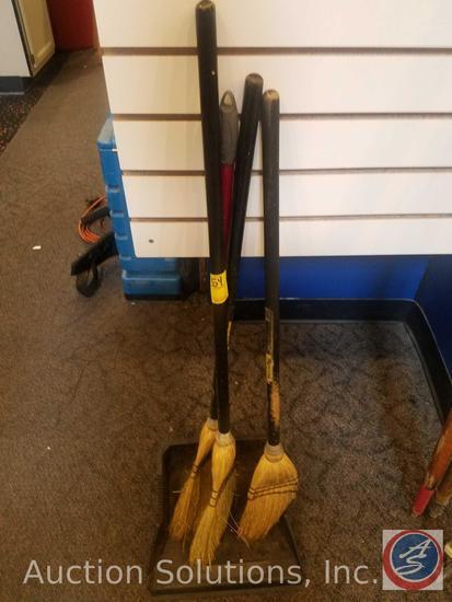 (3) Mini Brooms, Plastic Dustpan {{BROKEN}}