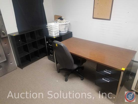 "Wooden/Metal Office Desk 60"" x 28"" x 31"", Shoe Compartment Shelf 35"" x 10"" x 36"", Office Chair, 2"