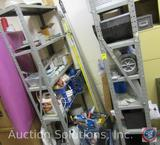 (2) Metal Storage Shelf Units w/ Misc. DIY and Home Improvement Items: Paint Rollers, NEW Blue Tarp,