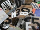 Various Size Letter Stencils; White 6'' Velcro Alphabet Letters; and Black 8'' Back-Lit Commercial