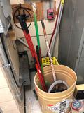 Commercial Mop Bucket, (3) Mops, Shovel, (3) Assorted Brooms, Cleaning Caddy, Rug Doctor Hoses,
