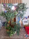 (4) Faux Potted Plants