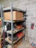 Four Tier Metal and Pressed Wood Shelving Unit 48 1/2