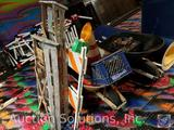 (2) Wooden Step Ladders, Construction Barricade, (2) Wheel Barrows , Construction Cones, More