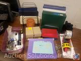 Assorted Office Supplies Including Three Ring Binders, Mini Pencils, Stapler, More