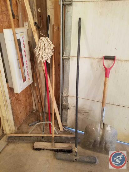 Extra Wide Push Broom, (4) Push Brooms, Mop, Level