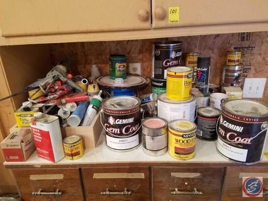 (6) Caulking Guns, Gemini Gem Coat Semi-Gloss Paint, DupliCoat Spray Paint, Provincial 211 Minwax