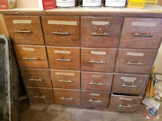 "Sixteen Drawer Work Station Cabinet Measuring 46 1/4"" x 24"" x 41 1/4"" {{CONTENTS SOLD SEPARATELY}}"