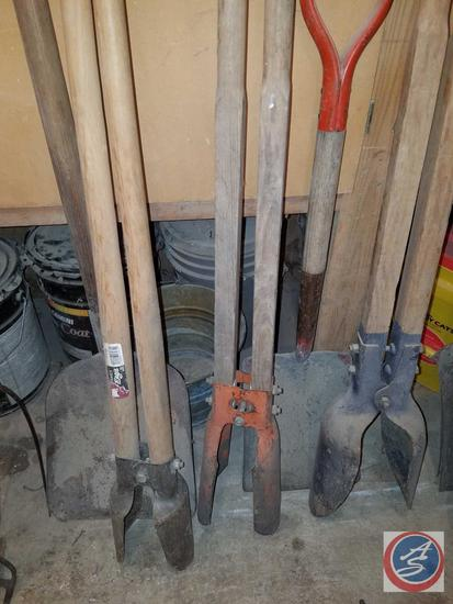 (3) Post Hole Diggers, (2) Square Point Shovels