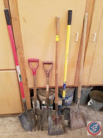 (4) Square End Shovels, Pitchfork, Shovel