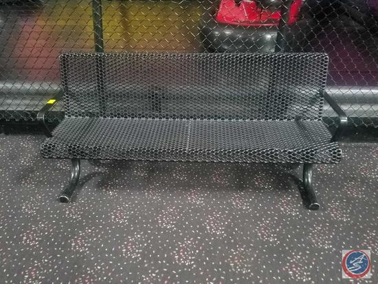 "{{2XBID}} (2) Walbash Valley Perforated Metal Benches - Thermoplastic Coated - Black - 72"" x 26"" x"