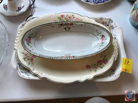 (4) Assorted Platters, Three Ceramic and One Glass w/ Angel Decor. Largest Platter Brand is