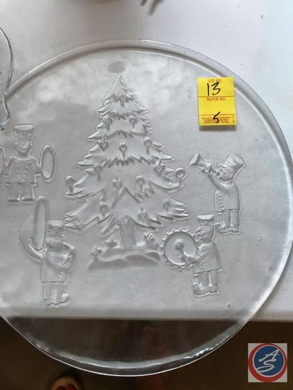 Christmas Cake Plate, and a Floral Relish Tray, Top of Fridge Dish and Two Assorted Plates