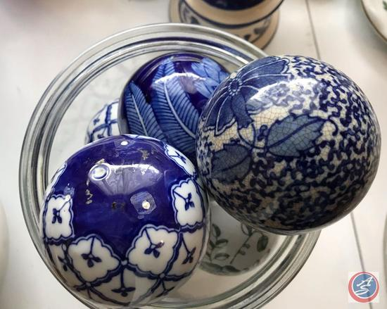 (2) Jars Full of White and Colored Decorative Balls, One of the Holders is a Commode