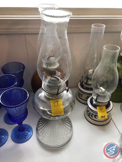 (3) Hurricane Oil Lamps, One is Pottery and Two are Clear Glass