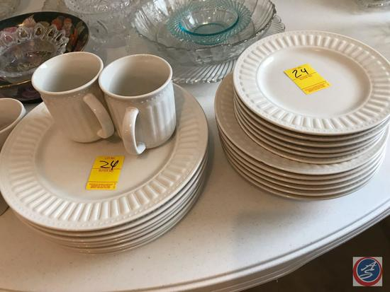 (8) Plates, (6) Sandwich Plates, and (6) Side Plates and (5) Cups Everyday China Brand