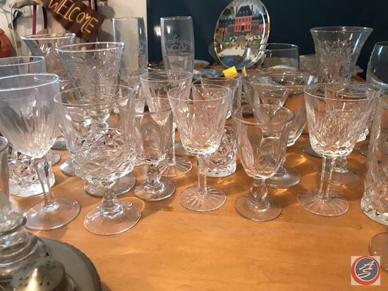 Assorted Cut Glass and Pressed Glass Stemware